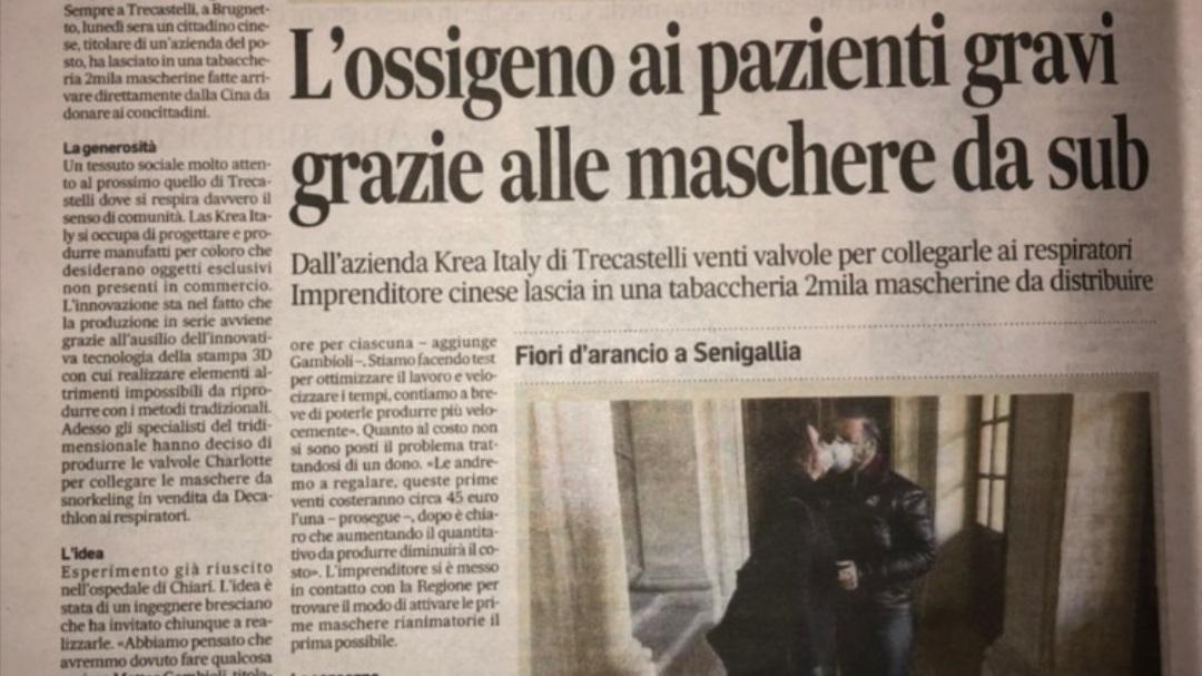 KREA Corriere Adriatico Donazione Valvole Covid - KreaItaly, Stampa 3d - Stampanti 3d Marche - Stampanti 3D prezzi - Aziende stampa 3d
